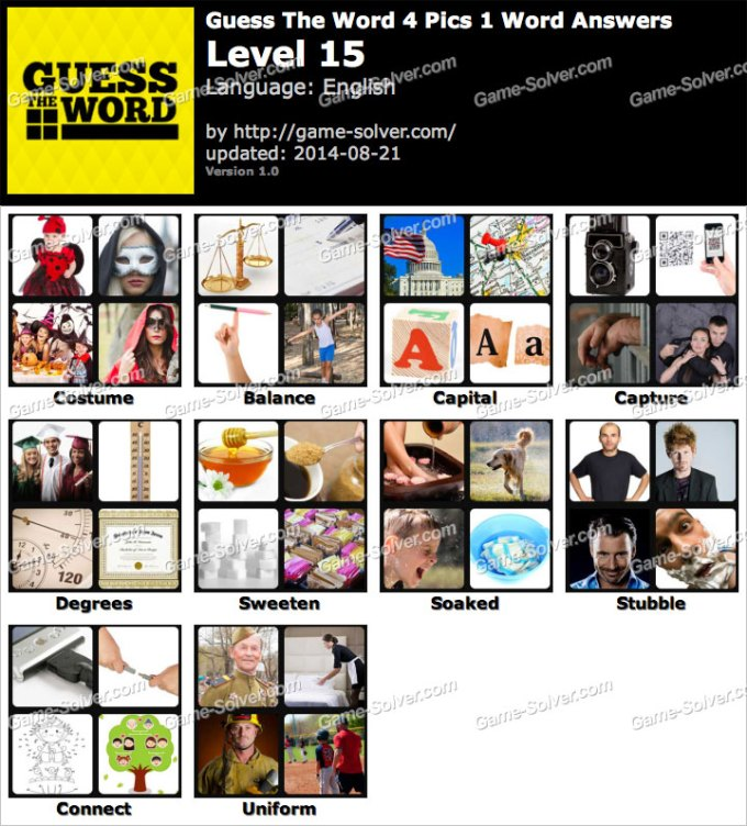 Guess The Word 4 Pics 1 Level 15 Game Solver