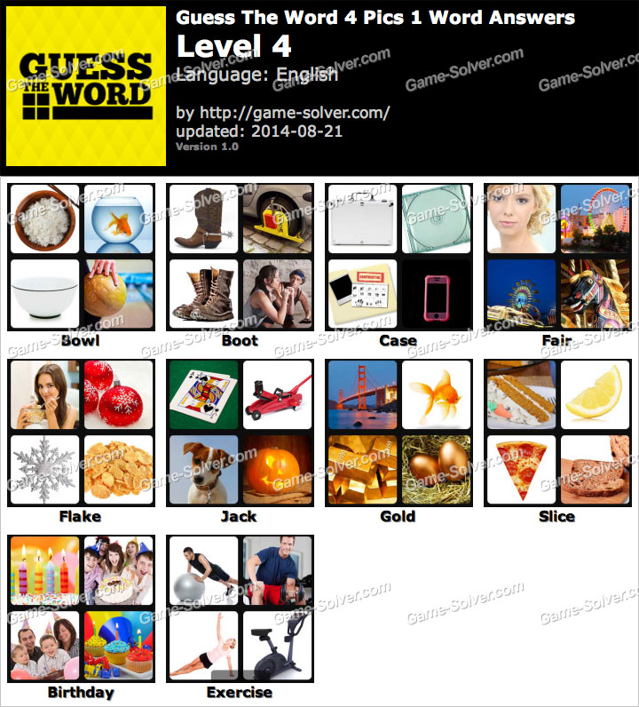 Guess The Word 4 Pics 1 Word Level 4