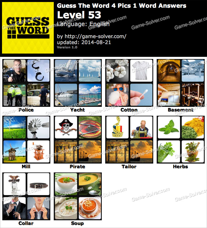 Guess The Word 4 Pics 1 Word Level 53