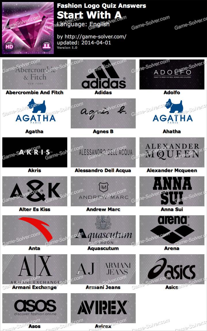 Fashion Logo Quiz Answers Start with A
