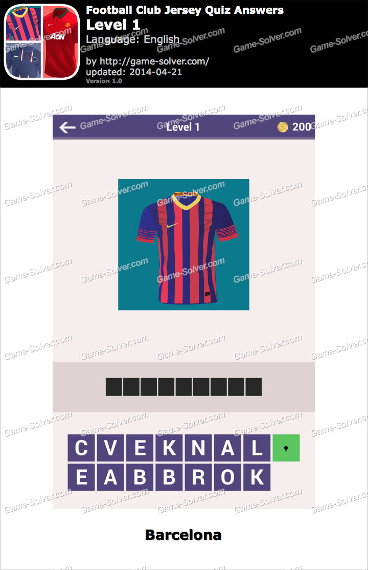 Football Clubs Jersey Quiz Level 1