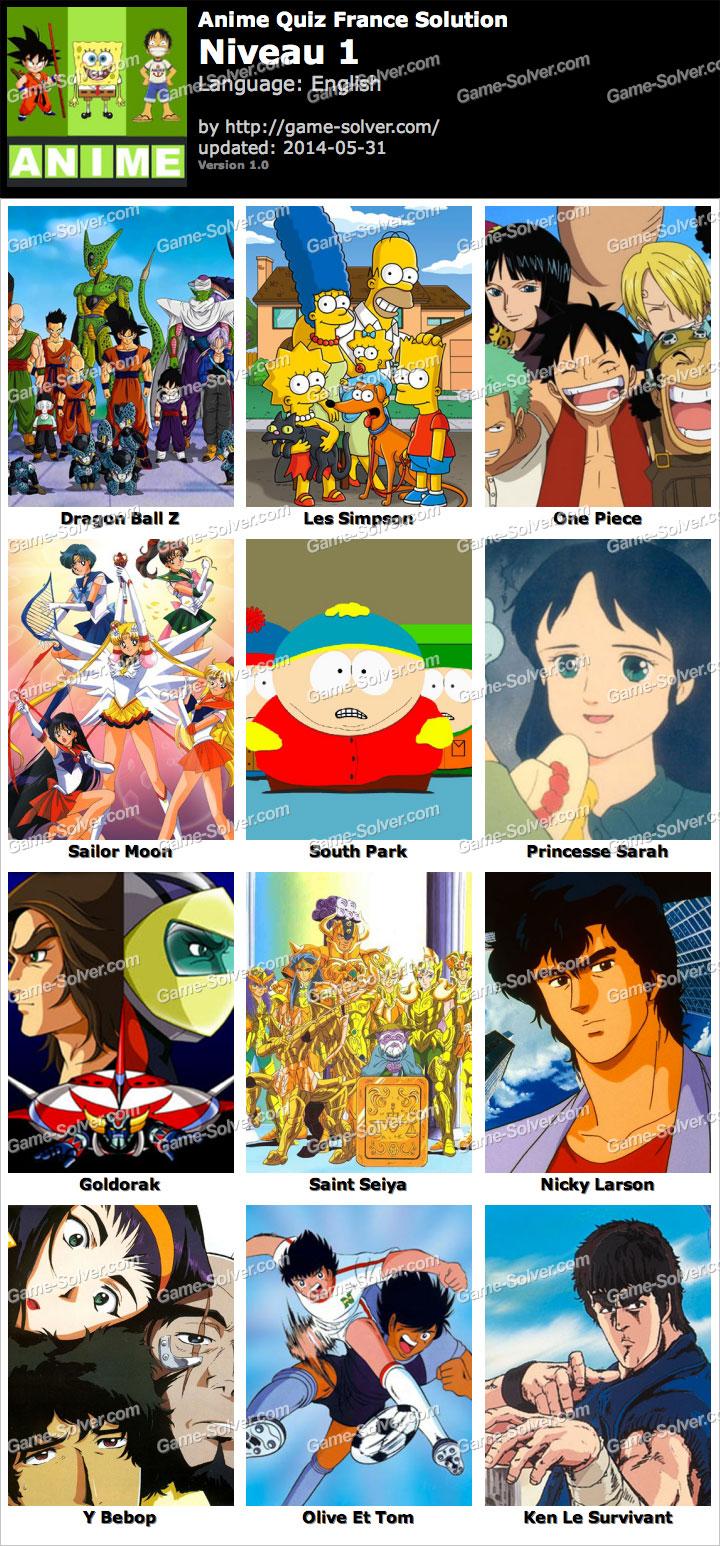 Anime Quiz Français niveau 1