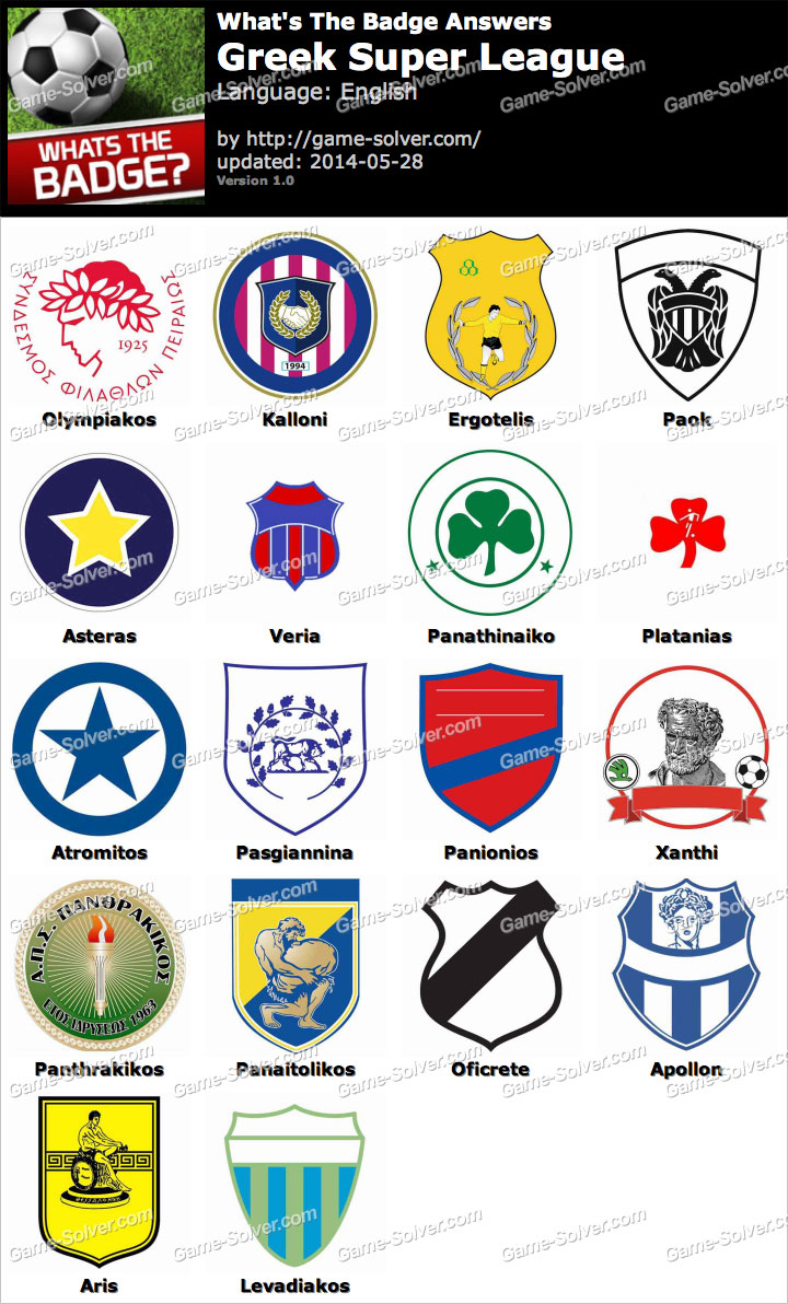 Whats The Badge Greek Super League Answers