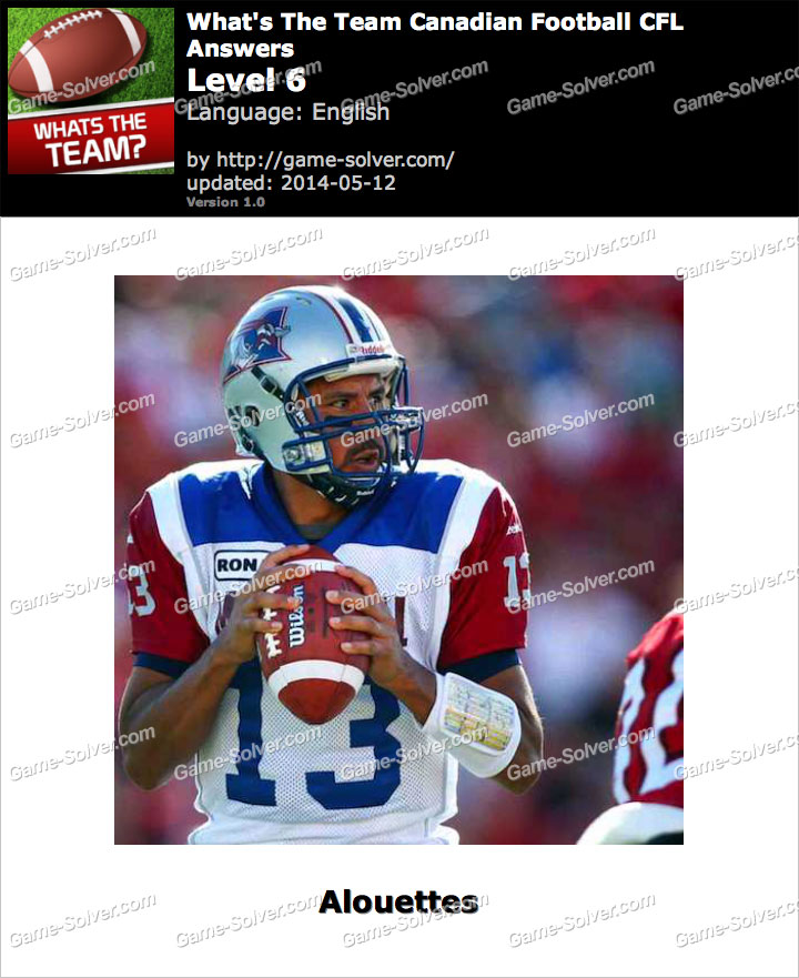 What's The Team Canadian Football CFL Level 6