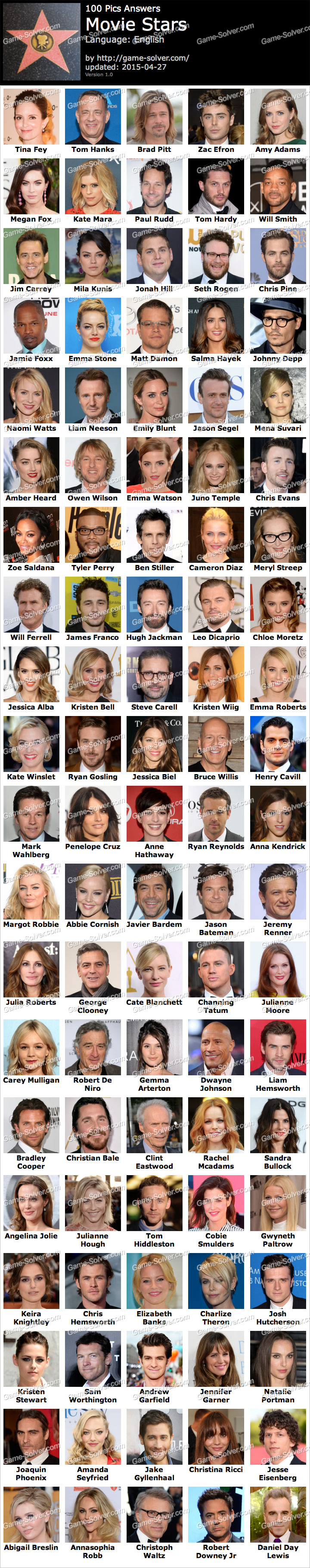 100 Pics Answer Movie Stars