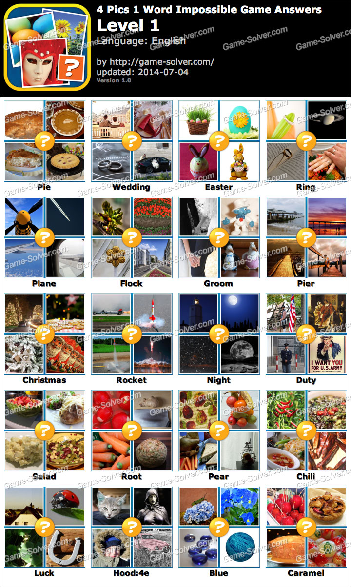 4 Pics 1 Word Impossible Game Level 1