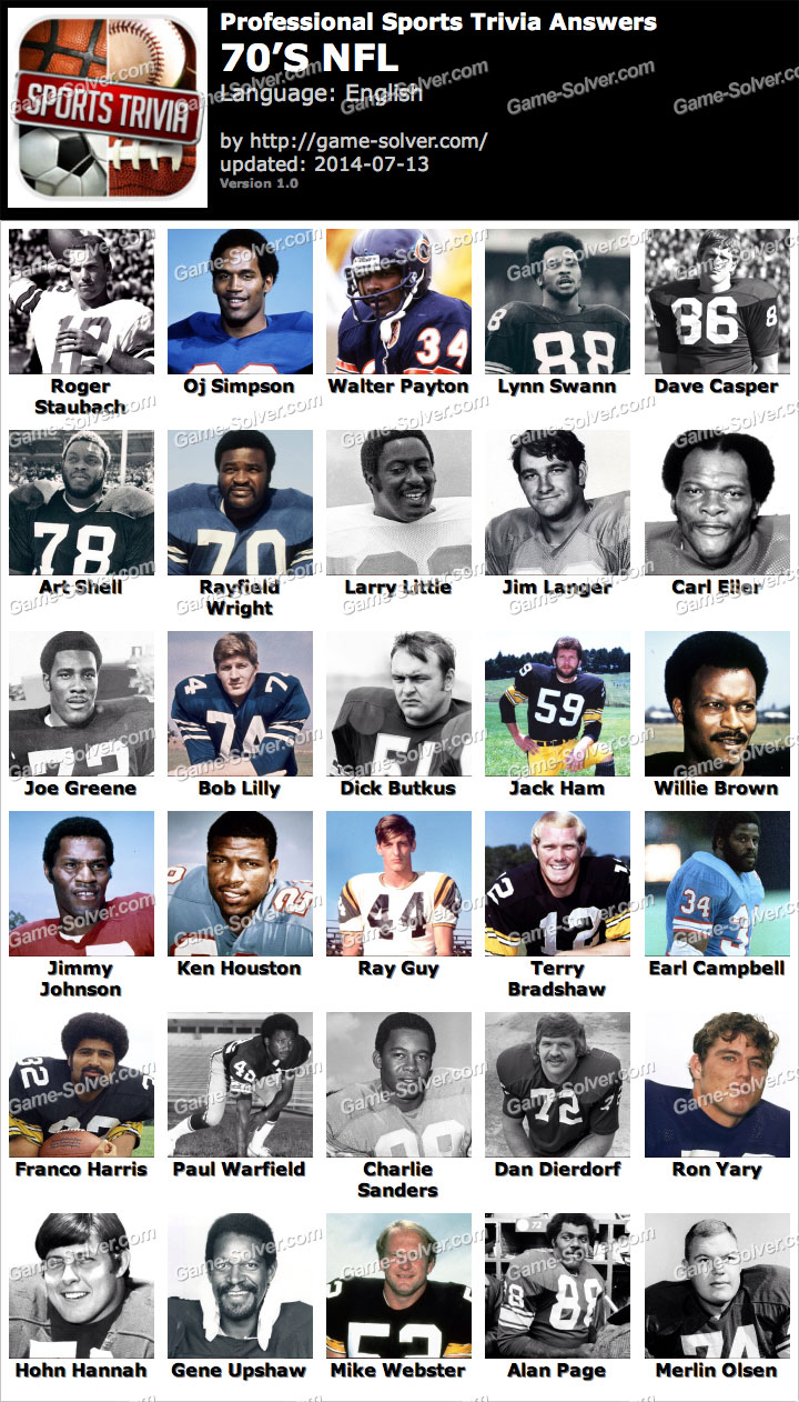Professional Sports Trivia 70s NFL Answers