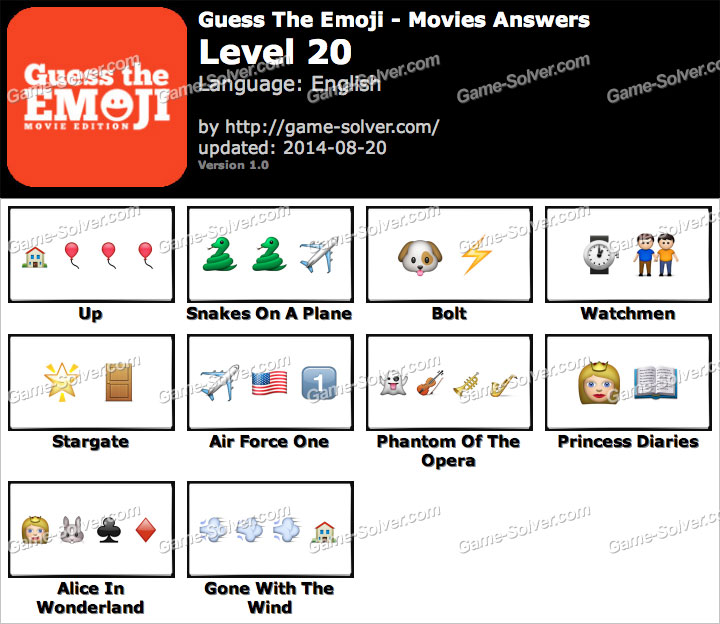 Guess The Emoji Movies Level 20 Game Solver