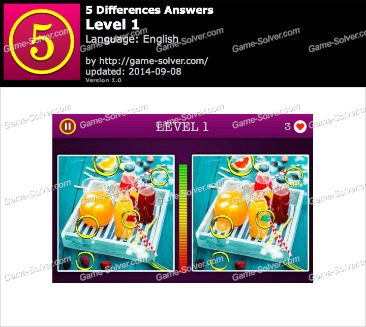 5 Differences Level 1