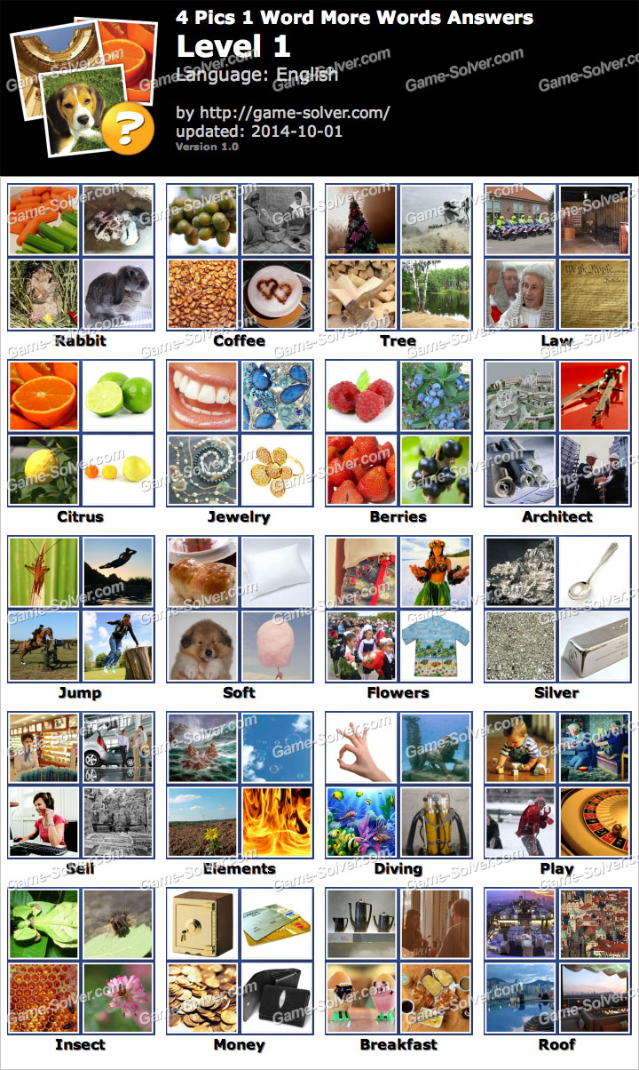4 Pics 1 Word More Words Level 1