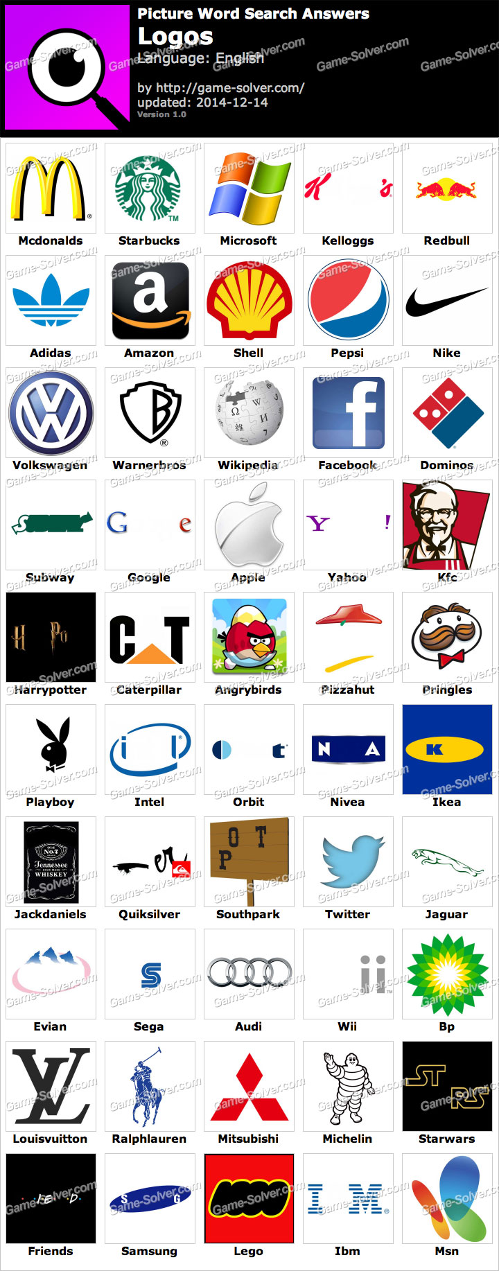 Picture Word Search Logos Answers