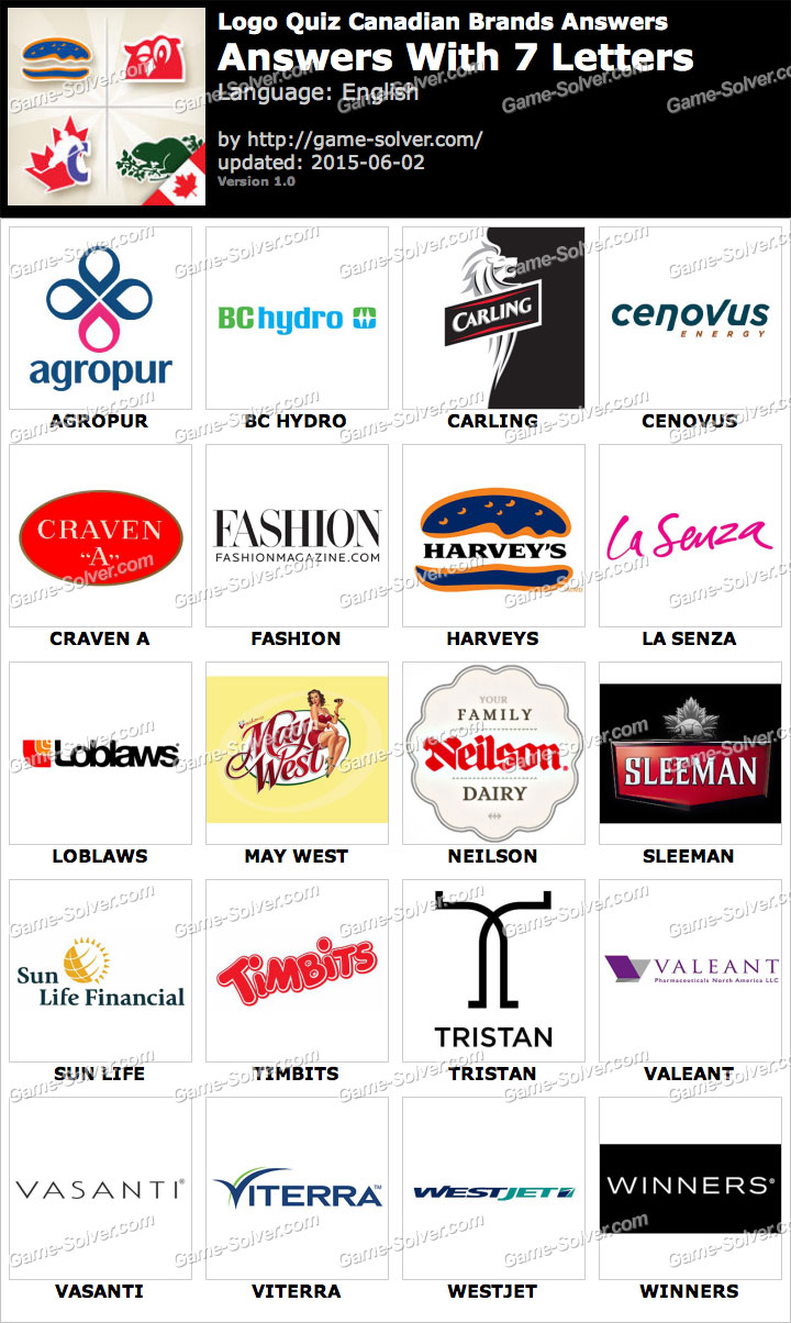 Logo Quiz Canadian Brands with 7 Letters