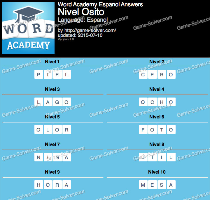 Word Academy Espanol Osito Answers