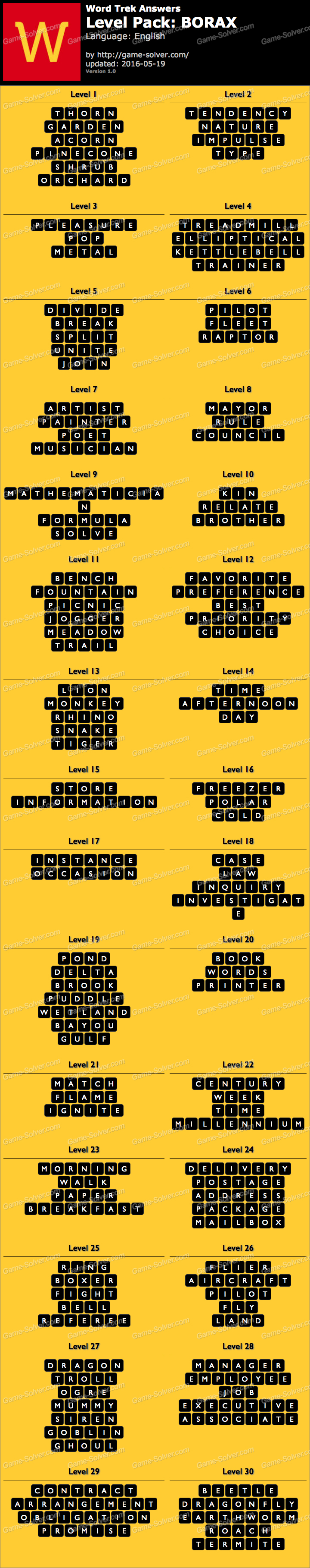 Word Trek Level Pack 73 BORAX Answers