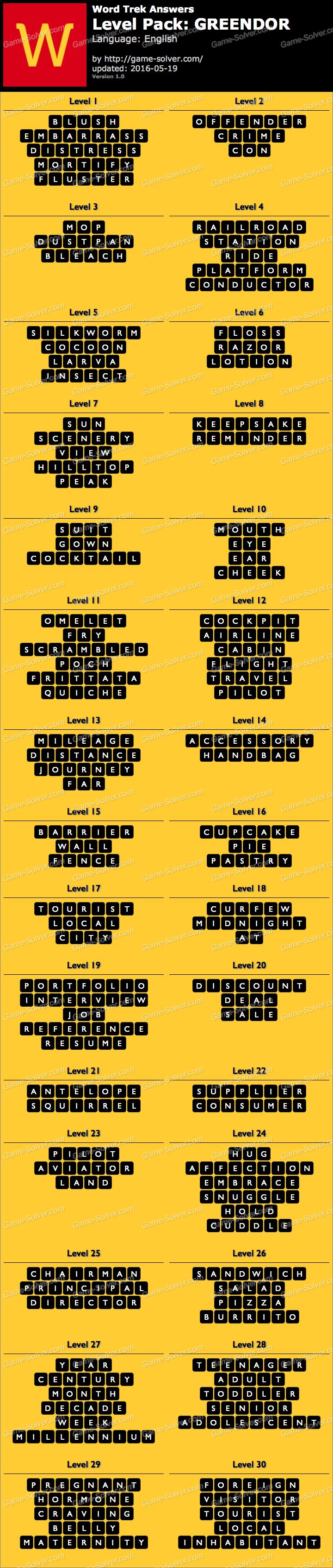 Word Trek Level Pack 74 GREENDOR Answers