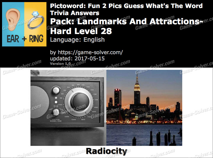 Pictoword Fun 2 Pics Landmarks And Attractions-Hard Level 28 Answers