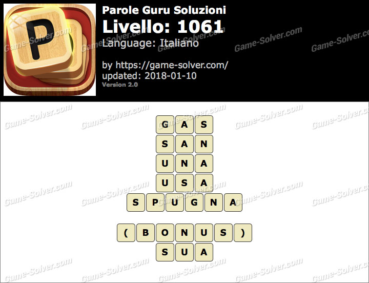 Parole Guru Livello 1061 Soluzioni