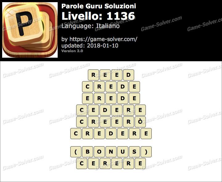 Parole Guru Livello 1136 Soluzioni