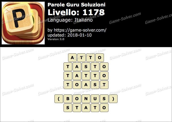 Parole Guru Livello 1178 Soluzioni