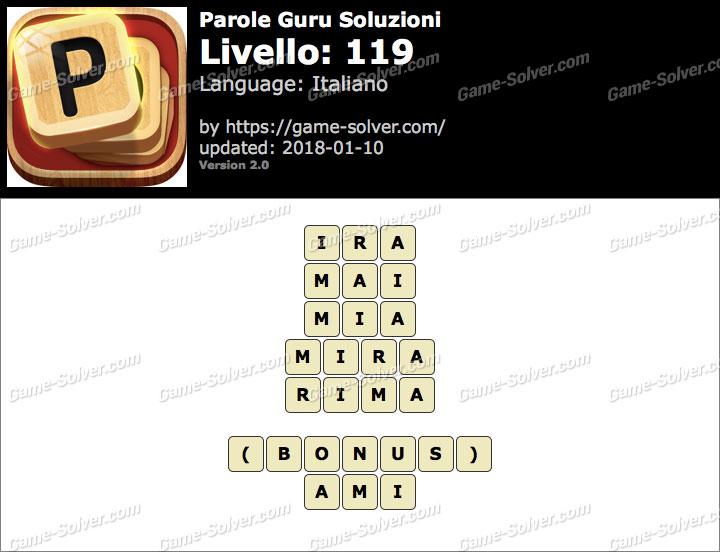 Parole Guru Livello 119 Soluzioni