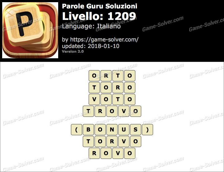Parole Guru Livello 1209 Soluzioni