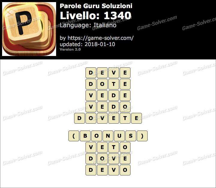Parole Guru Livello 1340 Soluzioni