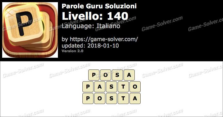 Parole Guru Livello 140 Soluzioni