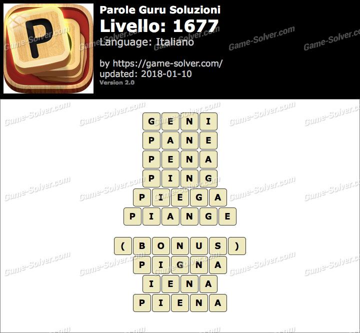 Parole Guru Livello 1677 Soluzioni