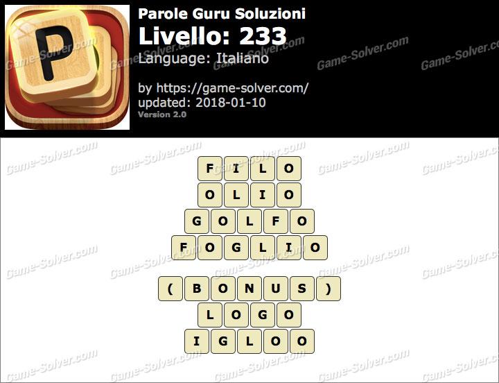 Parole Guru Livello 233 Soluzioni