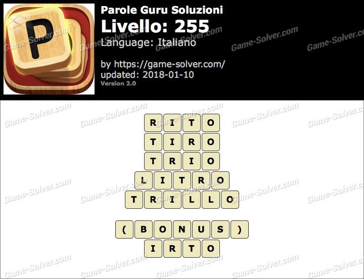 Parole Guru Livello 255 Soluzioni