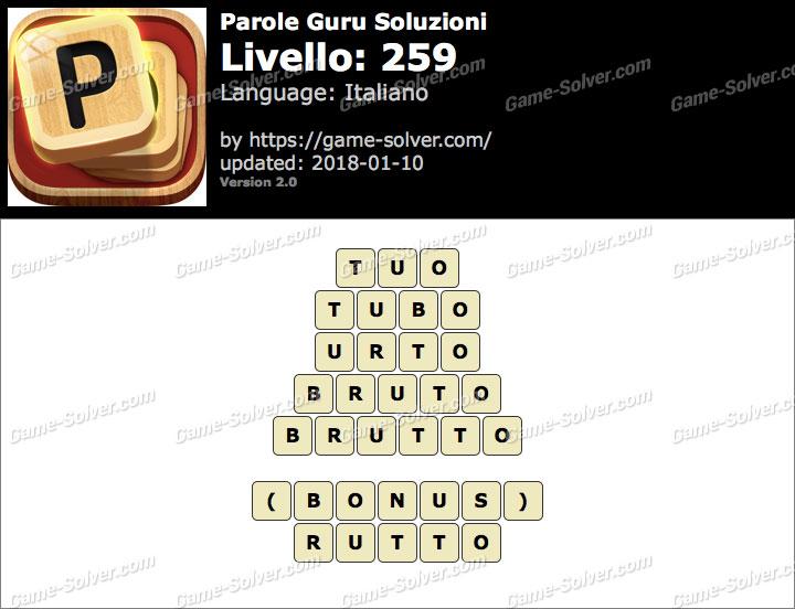 Parole Guru Livello 259 Soluzioni
