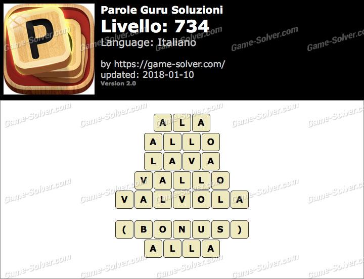 Parole Guru Livello 734 Soluzioni