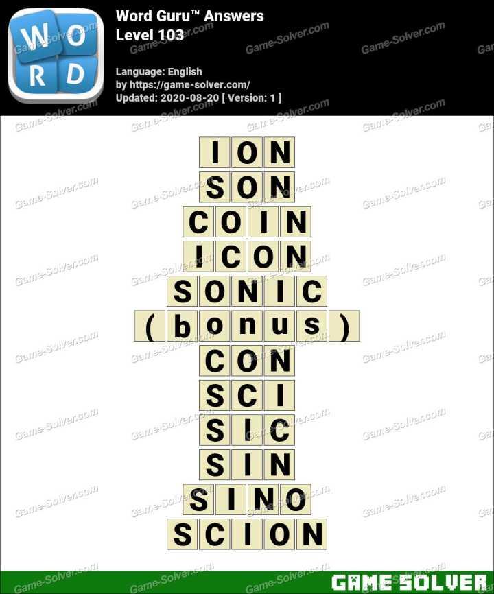 Word Guru Level 103 Answers