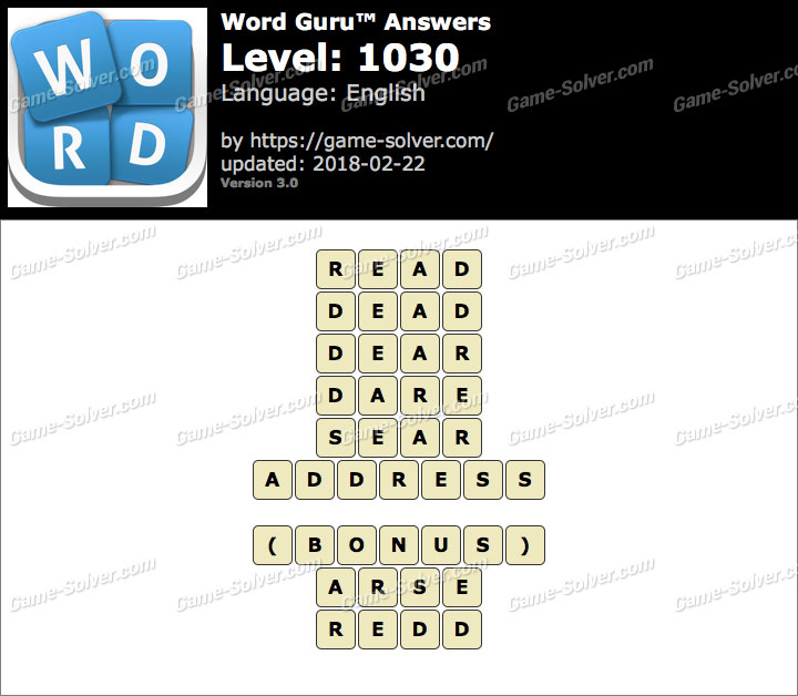 Word Guru Level 1030 Answers