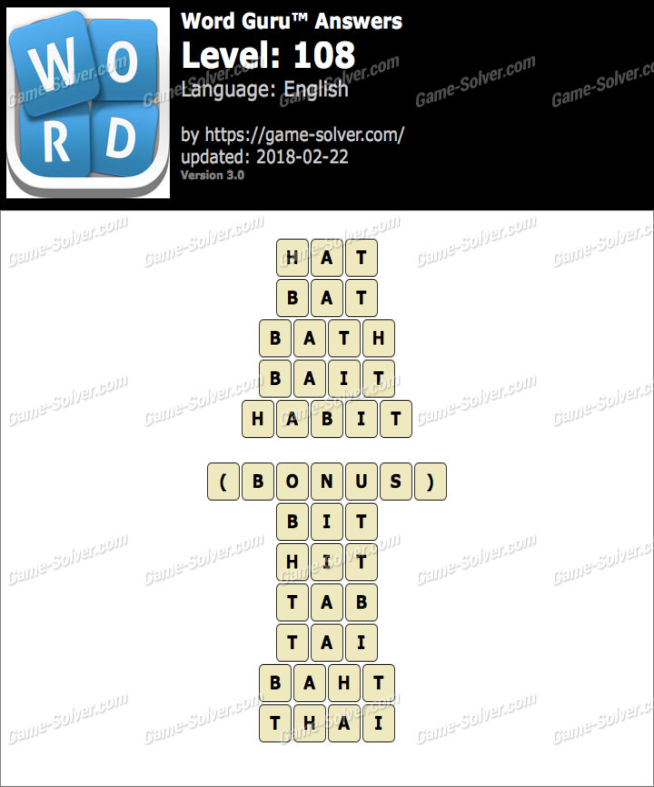 Word Guru Level 108 Answers