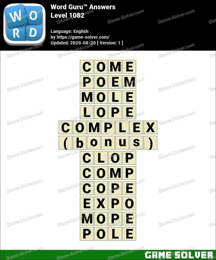Word Guru Level 1082 Answers