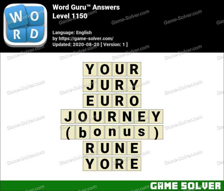 Word Guru Level 1150 Answers