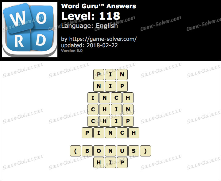 Word Guru Level 118 Answers