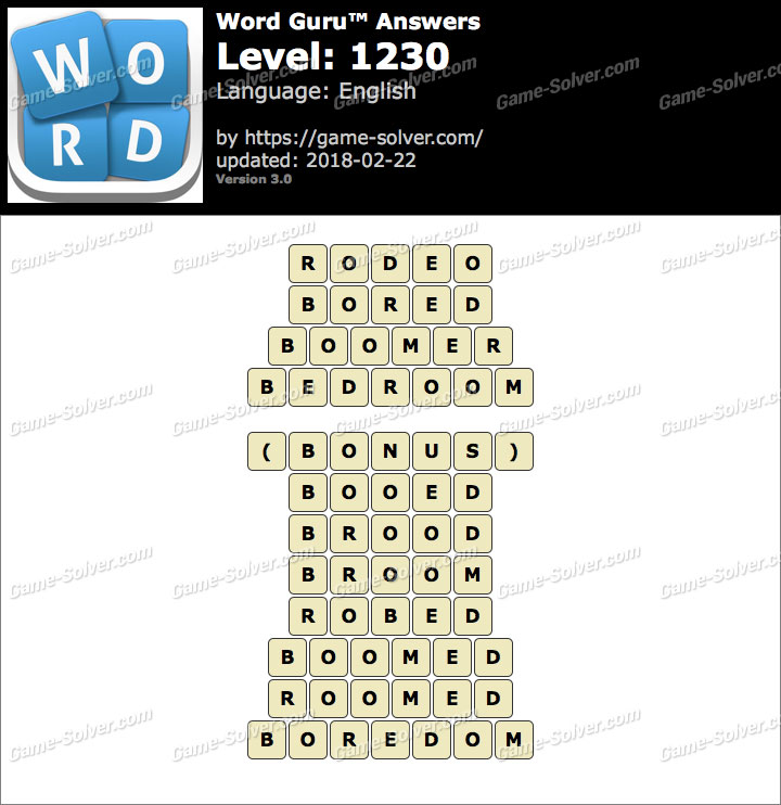 Word Guru Level 1230 Answers