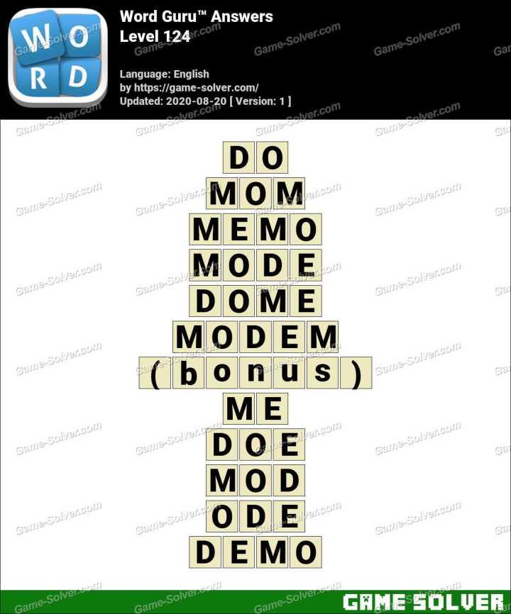 Word Guru Level 124 Answers
