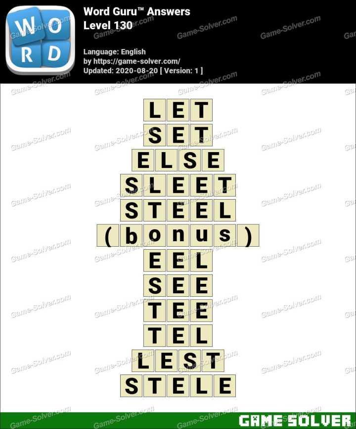 Word Guru Level 130 Answers