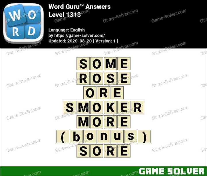 Word Guru Level 1313 Answers