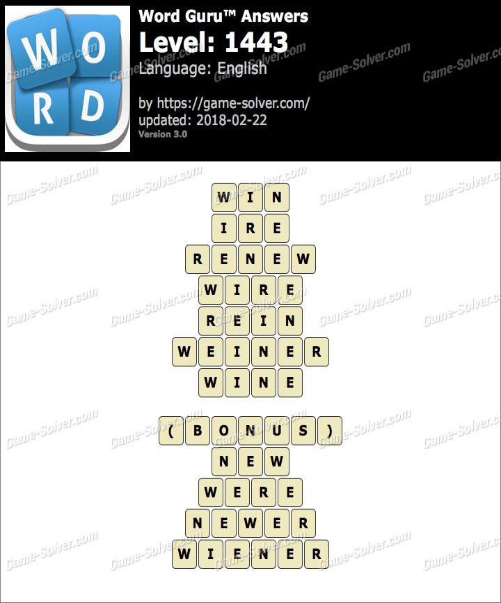 Word Guru Level 1443 Answers