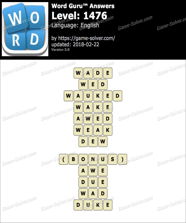 Word Guru Level 1476 Answers