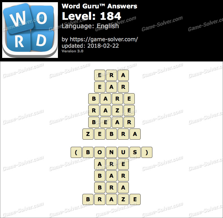 Word Guru Level 184 Answers