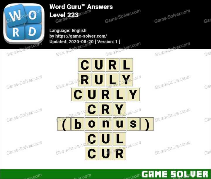 Word Guru Level 223 Answers