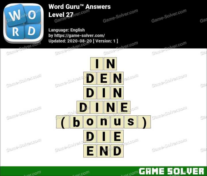 Word Guru Level 27 Answers