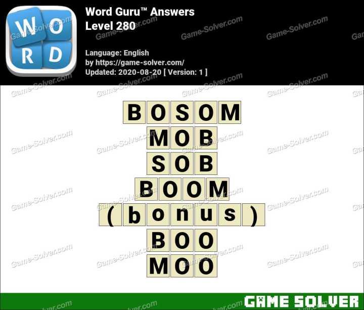 Word Guru Level 280 Answers