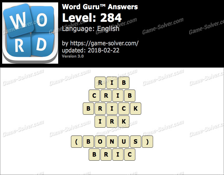 Word Guru Level 284 Answers