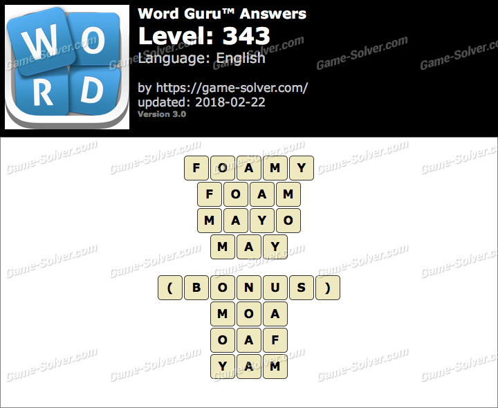 Word Guru Level 343 Answers